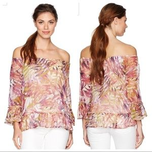 LUCKY BRAND Off-the-Shoulder Palm Print Blouse